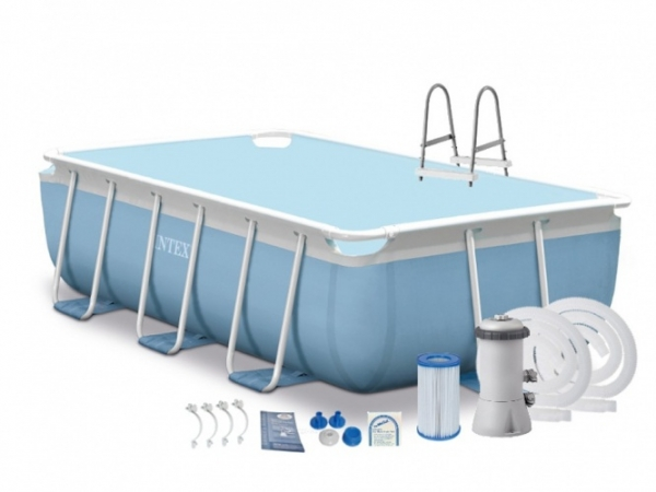 26784 Каркасный бассейн Intex Prism Frame Rectangular Pool, 300х175х80 см + фильтр-насос + лестница