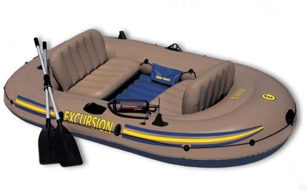 68324 Лодка Excursion 4 до 400 кг 315х165х43 см весла, насос