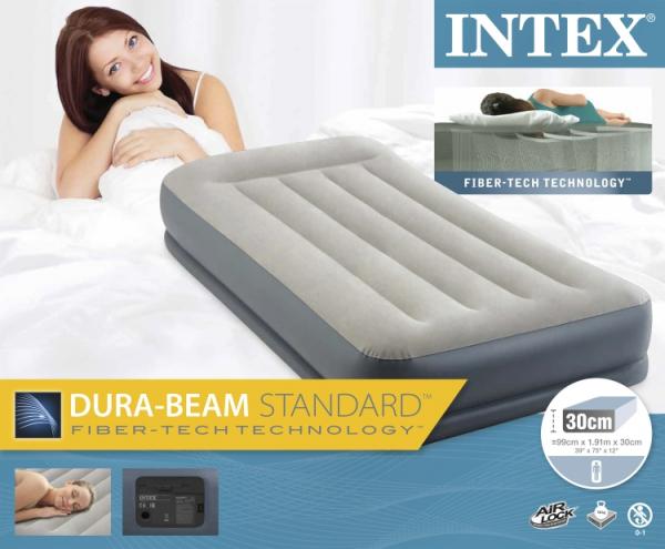 64116 Надувная кровать Mid-Rice Airbed 99х191х30см, встроенный насос 220V