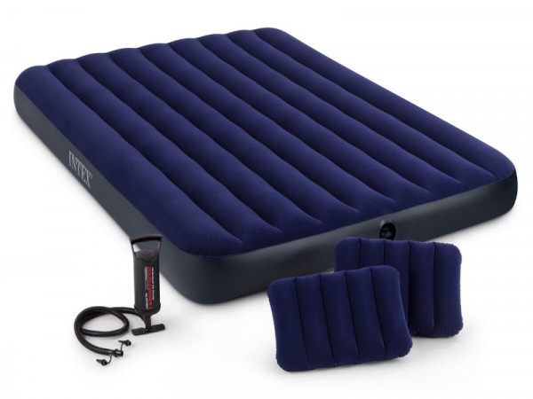64765 Матрас комфорт синий 152х203х25см, насос и подушки