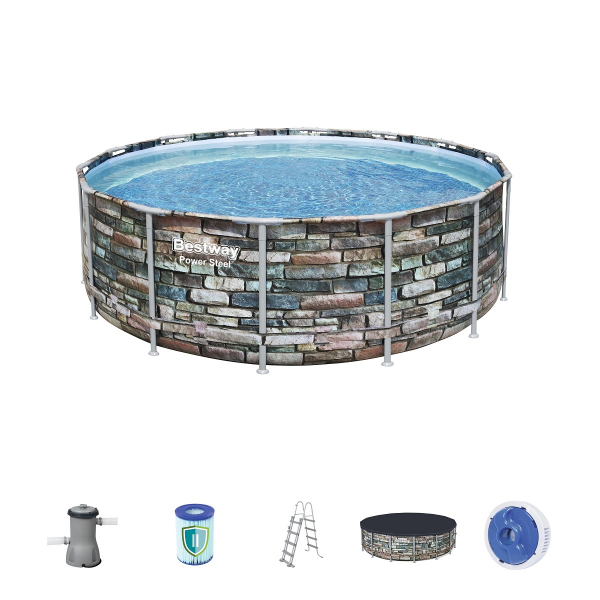 "56993 Каркасный бассейн Power Steel 427x122см ""Камень"" 15232л, фил.-нас. 3028л/ч, лестн., тент, попл.-доз."