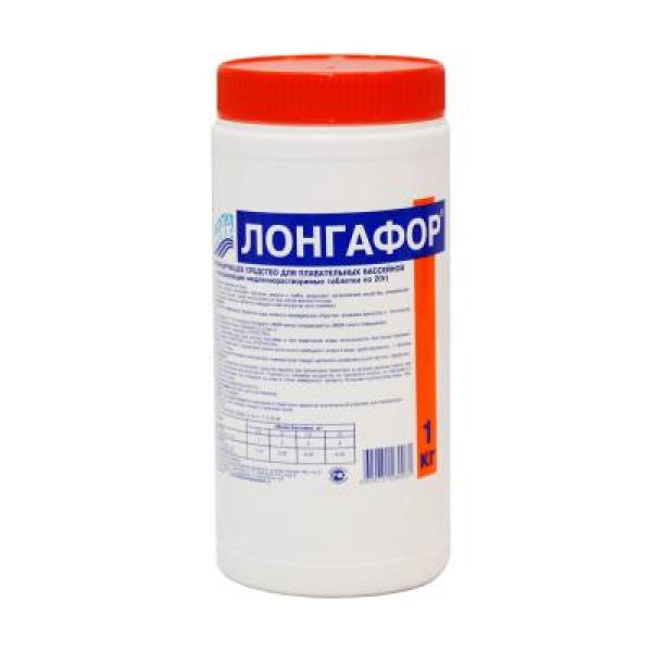 ЛОНГАФОР, 1кг , табл.20гр, медленнорастворимый хлор для непрерывной дезинфекции воды