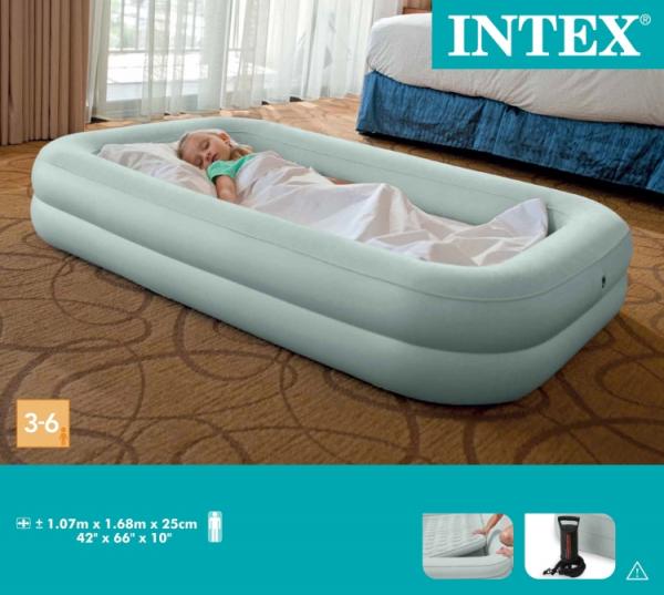 66810 Кровать надувная 2 в 1, 107X168X25 (ручной насос в комплекте), от 3-6 лет
