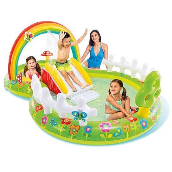 """57154 Игровой центр 290х180х104см """"Мой сад"""" с разбрыз., горкой и игрушками, 450л, до 54кг, от 2 лет"""