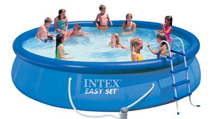 28164 Бассейн Easy Set 457x91 см с фильтр-насосом, лестницей настилом и тентом