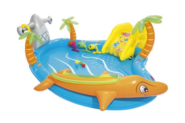 """53067 Игровой центр 280х257х87см """"Морские жители"""" с разбрызгивателем, горкой и игрушками, 273л, от 2 лет"""