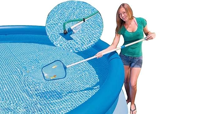 28002 Набор для чистки бассейна 488 см. Сачок, пылесос, держатель. Intex-28002