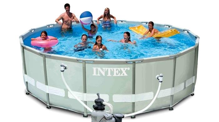 28324 Каркасный бассейн Ultra-Frame Metal Pool 488х122 см, с аксессуарами и песочным фильтром (INTEX)